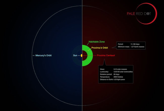 Perbandingan sistem Tata Surya dan Proxima Centauri. Kredit: ESO/M. Kornmesser/G. Coleman