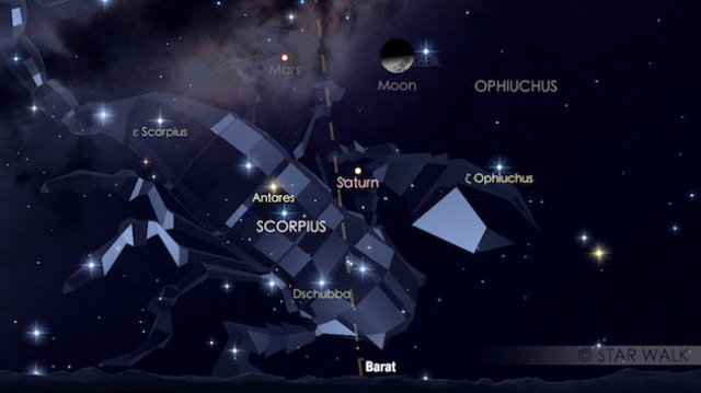 Mars, Saturnus, Bulan membentuk segitiga pada tanggal 9 September 2016 pukul 22:11 WIB. Kredit: Star Walk