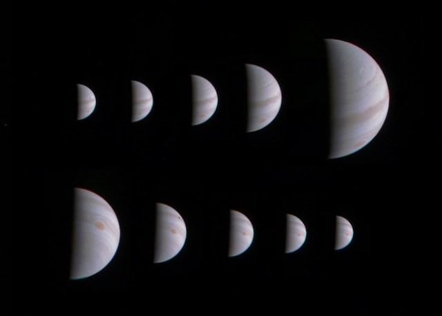 Montase Jupiter sebelum dan sesudah Juno berpapasan dekat dengan planet raksasa itu pada tanggal 27 Agustus 2016. Kredit: NASA