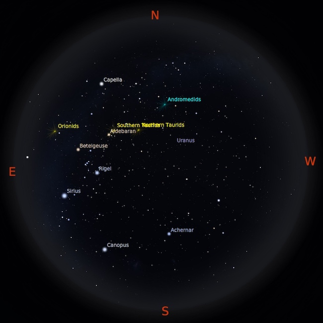 Peta bintang 1 November 2016 pukul 23:59 WIB. Planet-planet siap diamati setelah Matahari terbenam. Kredit: Stellarium