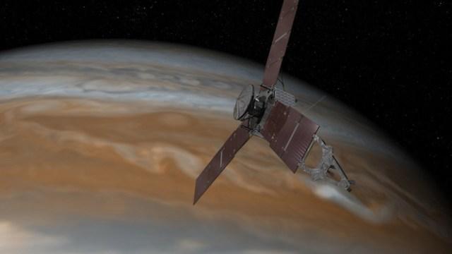 Ilustrasi Juno saat tiba di Jupiter. Kredit: NASA/JPL-Caltech