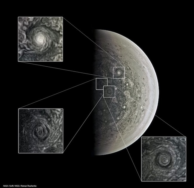 Stunning Vortices of Jupiter's South Pole oleh Roman Tkachenko Vorteks-vorteks (badai) di Jupiter, yang ukurannya bisa mencapai sebesar Bumi.
