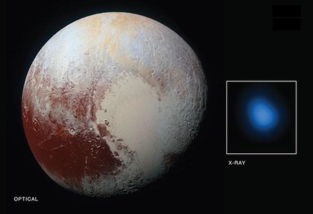 Pluto dalam cahaya tampak (kiri) dan dalam pandangan sinar-X (kanan). Kredit: NASA