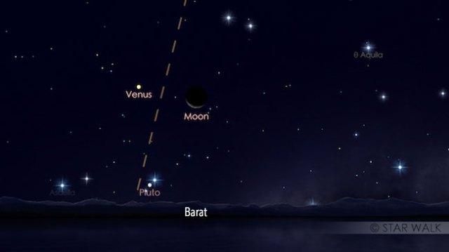 Bulan dan Venus di ufuk barat tanggal 3 Desember 2016 pukul 20:00 WIB. Kredit: Star Walk
