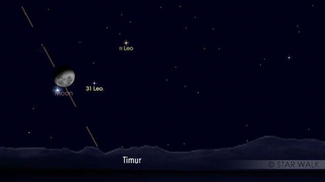 Pasangan Bulan dan Regulus pada tanggal 18 Desember 2016 pukul 22:30 WIB. Kredit: Star Walk