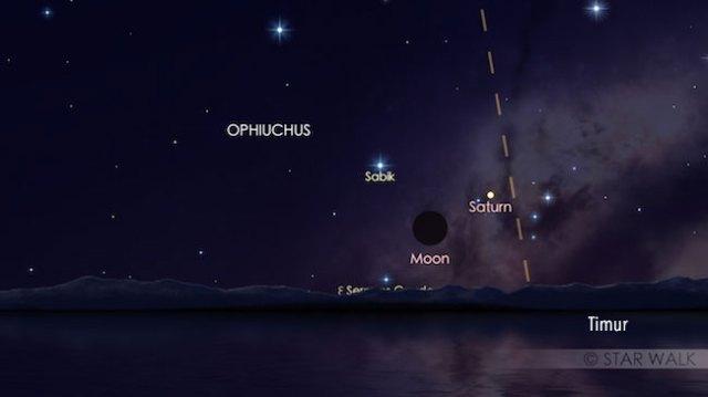 Konjungsi Bulan dan Saturnus jelang fajar tanggal 28 Desember 2016 pukul 05:00 WIB. Kredit: Star Walk