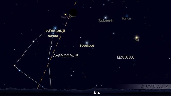 Bulan dan Venus berpasangan di langit senja.Ini adalah simulasi pukul 19:30 WIB, Kredit: Star Walk