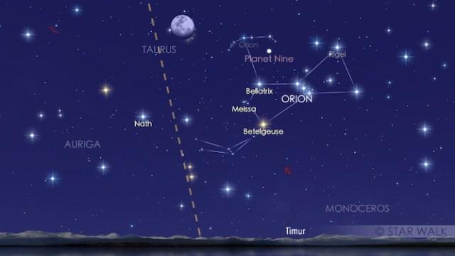 Bulan dan Aldebaran di ufuk Timur setelah Matahari terbenam. Simulasi ini dibuat untuk pukul 18:00 WIB. Pengamat bisa menikmati keduanya smapai Bulan dan Aldebaran terbenam pukul 02:06 WIB.  Kredit: Star Walk