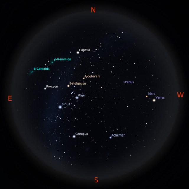 Peta Bintang 15 Januari 2017 pukul 19:00 WIB. Kredit: Stellarium