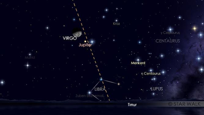Pasangan Bulan dan Jupiter bisa diamati sejak keduanya terbit tengah malam sampai jelang fajar. Simulasi dibuat untuk pukul 01:30 WIB. Kredit: Star Walk