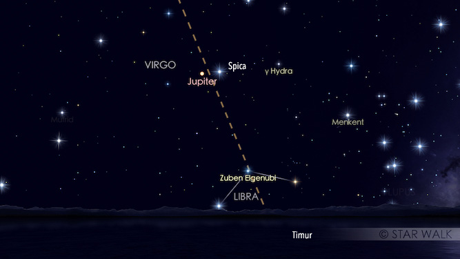Pasangan Jupiter dan Alpha Virgo a.k.a Spica. Simulasi dibuat untuk pukul 00:30 WIB. Kredit: Star Walk