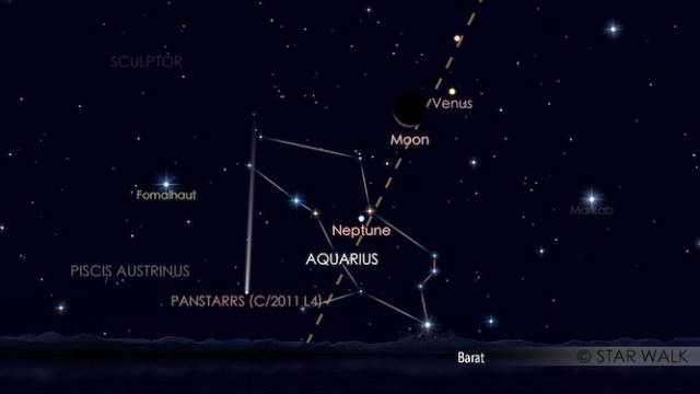 Bulan dan Venus berpasangan di langit senja. Simulasi dibuat untuk pukul 19:00 WIB, Kredit: Star Walk