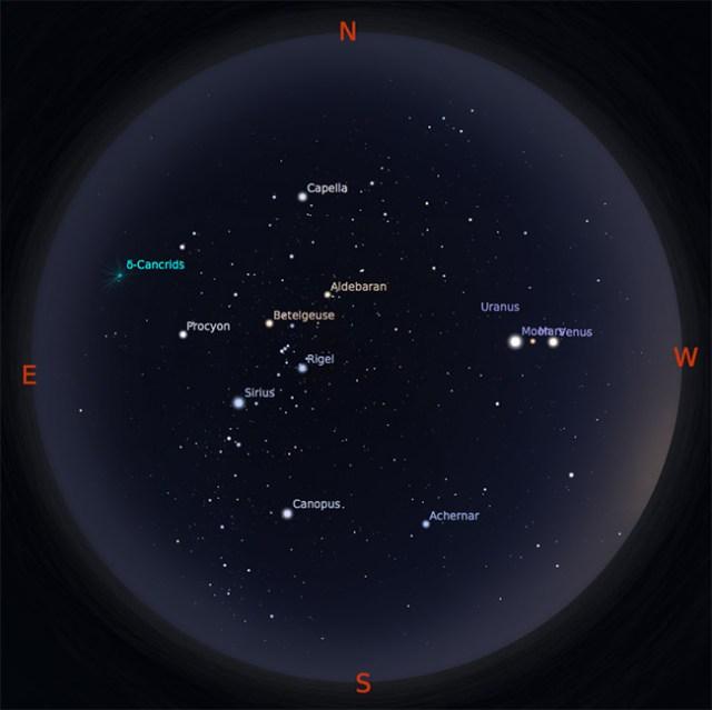 Peta Bintang 1 Februari 2017 pukul 19:00 WIB. Kredit: Stellarium