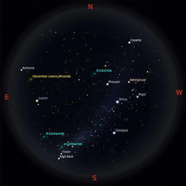 Peta Bintang 1 Februari 2017 pukul 23:00 WIB. Kredit: Stellarium
