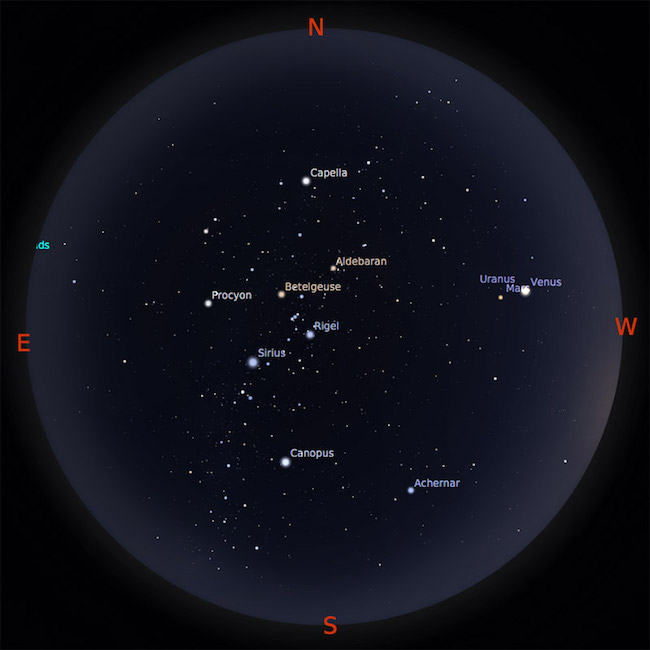 Peta Bintang 15 Februari 2017 pukul 23:00 WIB. Kredit: Stellarium