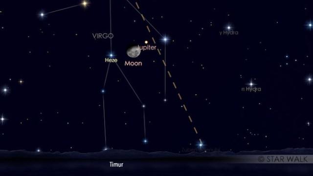 Konjungsi Bulan dan Jupiter tanggal 15 Februari untuk pukul 23:00 WIB: Kredit: Star Walk