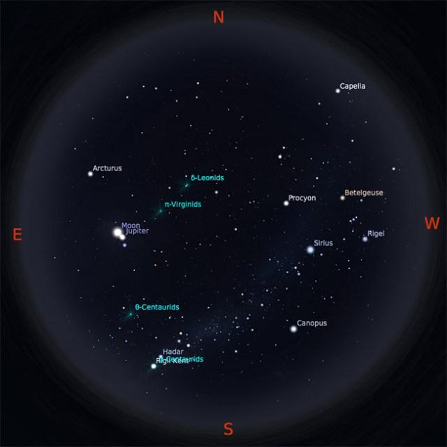 Peta Bintang 15 Februari 2017 pukul 19:00 WIB. Kredit: Stellarium
