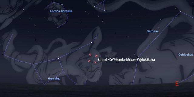 Komet 45P/Honda–Mrkos–Pajdušáková tanggal 11 Februari 2017 pukul 02:00 WIB. Kredit: Stellarium