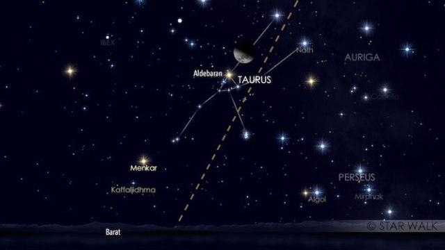 Pasangan Bulan dan Aldebaran, pada tanggal 5 Maret 2017 pukul 21:00 WIB. Kredit: Star Walk