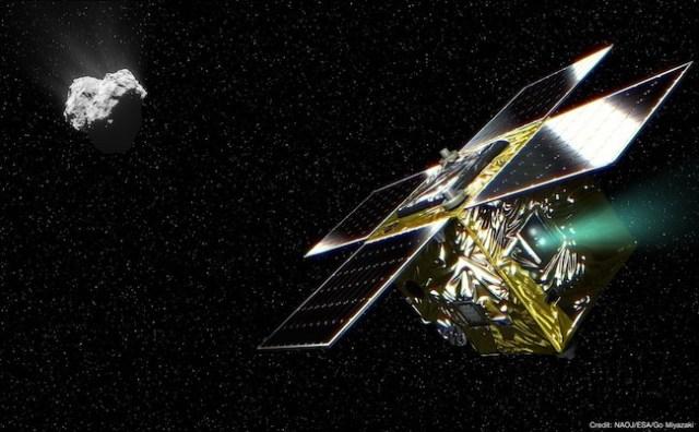 Ilustrasi yang menggambarkan wahana antariksa PROCYON dan komet 67P/Churumov-Gerasimenko. Kredit: NAOJ.