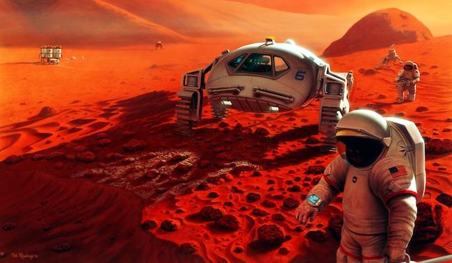 Ilustrasi penjelajahan ke Mars. Kredit: NASA/Pat Rawlings, SAIC