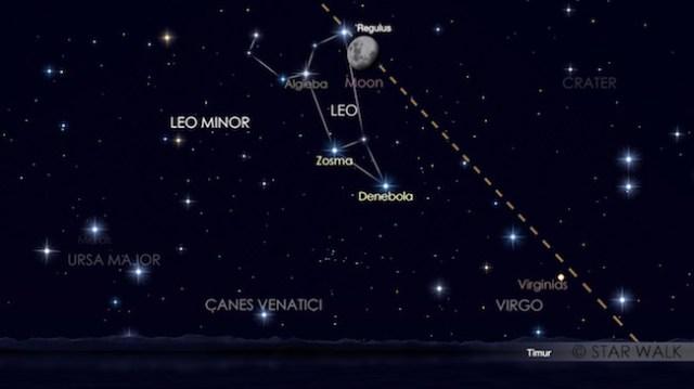 Pasangan Bulan dan Regulus 7 April 2017 pukul 18:30 waktu lokal. Kredit: Star Walk