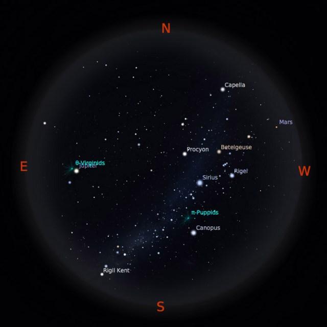 Peta bintang 15 April 2017 pukul 19:00 WIB. Kredit: Stellarium