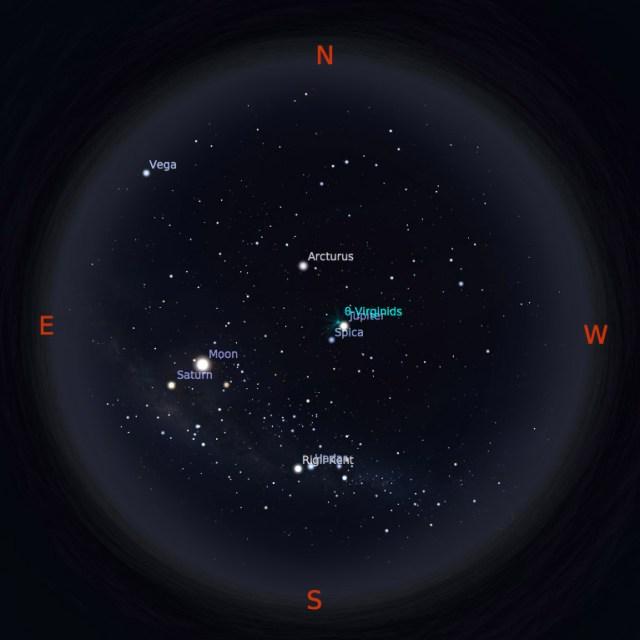 Peta bintang 15 April 2017 pukul 23:59 WIB. Kredit: Stellarium