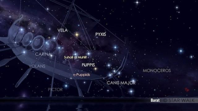 Hujan meteor pi Puppid tanggal 22 April 2017 pukul 22:00 waktu lokal, ketika rasi Puppis akan tenggelam. Kredit: Star Walk