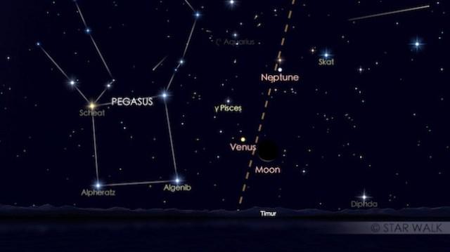 Pasangan Bulan dan Venus 24 April 2017 pukul 04:30 waktu lokal. Kredit: Star Walk