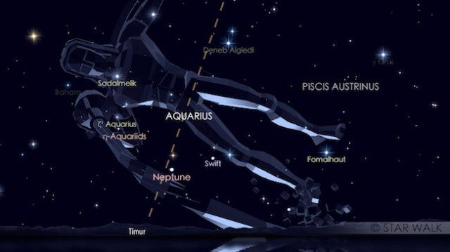 Puncak hujan meteor Eta Aquarid tanggal 6 Mei 2017 pukul 02:30 WIB. Kredit: Star Walk