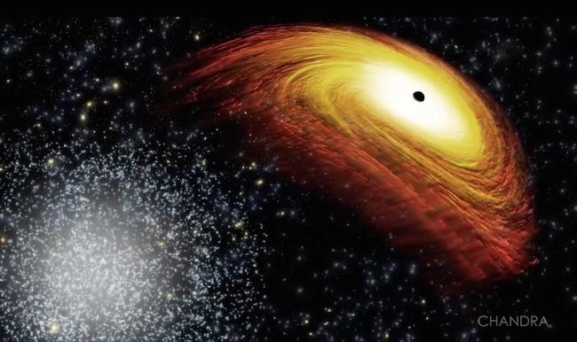 Ilustrasi galaksi yang di pusatnya ada lubang hitam yang bergerak menjauh dari galaksi. Kredit: X-ray: NASA/CXC/NRAO/D.-C.Kim; Optical: NASA/STScI; Illustration: NASA/CXC/M.Weiss