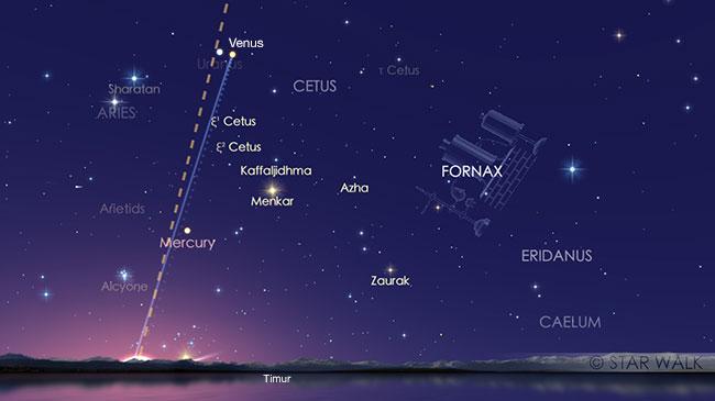 Venus saat mencapai elongasi terbesar dari Matahari yakni 45,9º. Kredit: Star Walk