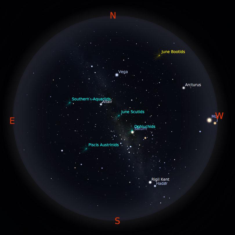 Peta Bintang 1 Juli 2017 pukul 23:59 Kredit: Stellarium