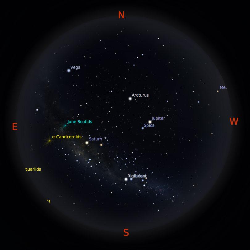 Peta Bintang 15 Juli 2017 pukul 19:00 Kredit: Stellarium