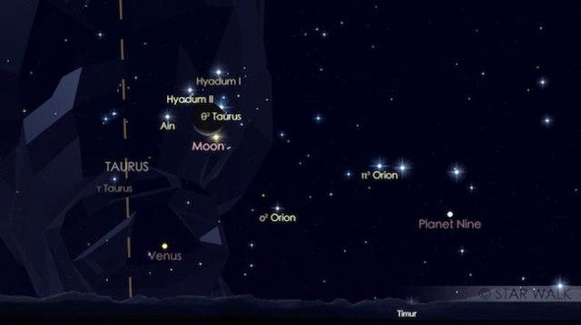 Pasangan Bulan dan Aldebaran yang membentuk formasi segitiga dengan Venus di timur tanggal 20 Juli pukul 03:30 WIB. Kredit: Star Walk