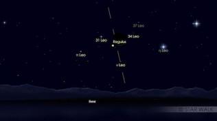 Segitiga Bulan, Merkurius dan Regulus di ufuk barat tanggal 25 Juli pukul 19:10 WIB. Kredit: Star Walk