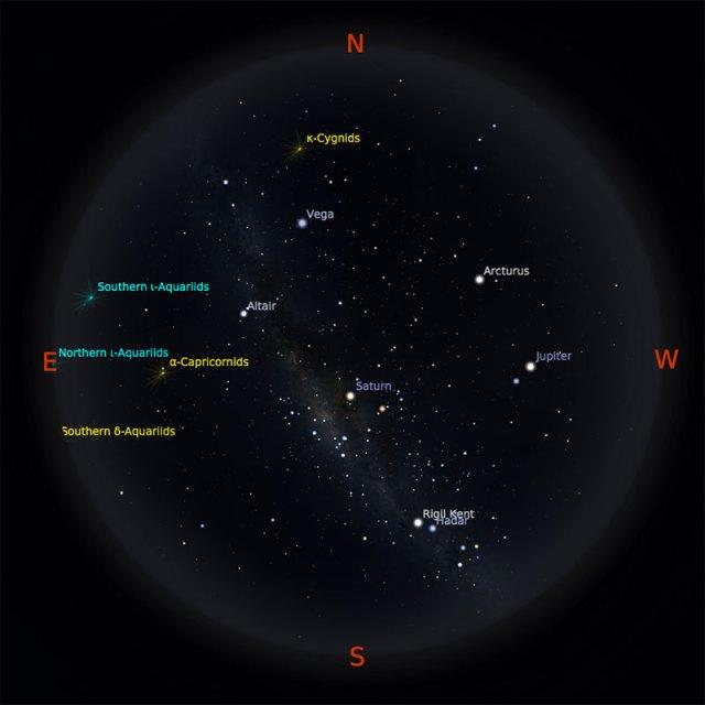 Peta bintang 15 Agustus 2017 pukul 19:00 WIB. Kredit: Stellarium