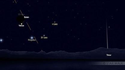 Pasangan Bulan dan Venus pada tanggal 18 September 2017 pukul 04:30 WIB, sebelum Bulan mengokultasi Venus. Kredit: Star Walk