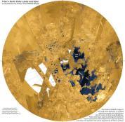 Danau dan lautan di kutub utara Titan yang dipotret radar Cassini. Kredit: NASA/JPL-Caltech/ASI/USGS