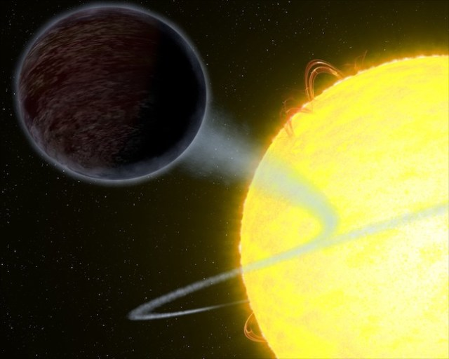 Planet hitam legam WASP-12b. Kredit: NASA, ESA, & G. Bacon (STScI)