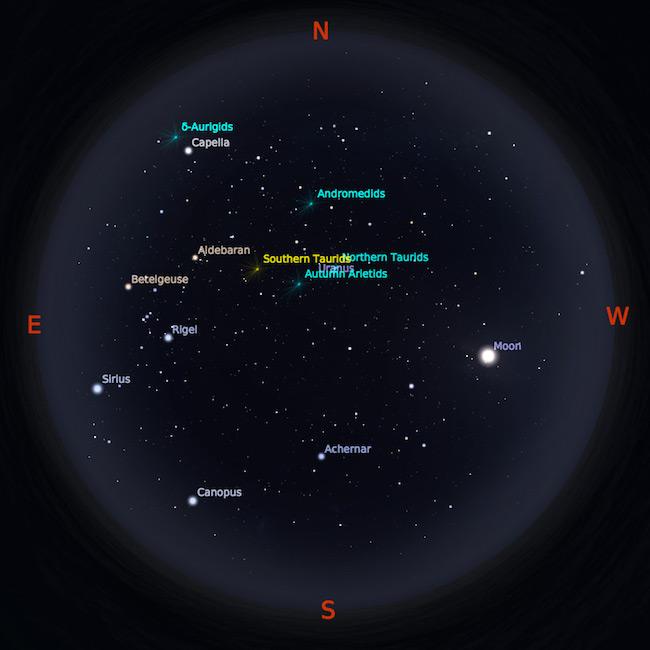 Peta bintang 1 Oktober 2017 pukul 23:59 WIB. Kredit: Stellarium
