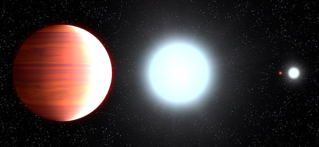 Ilustrasi planet Kepler-13Ab yang mengitari sistem bintang bertiga Kepler-13. Tampak bintang Kepler-13A yang jadi bintang induk dan 2 bintang lainnya di kejauhan. Kredit: NASA, ESA, & G. Bacon (STScI)
