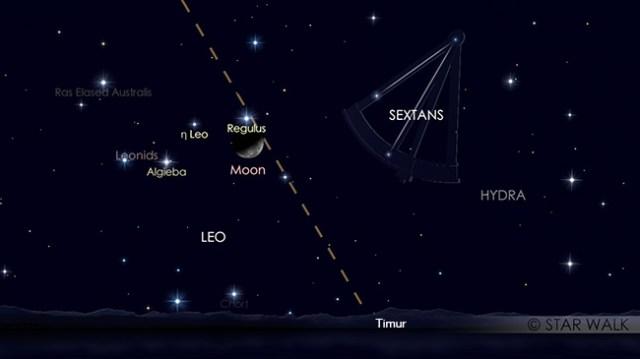 Pasangan Bulan dan Regulus tanggal 12 November 2017 pukul 02:00 WIB. Kredit: Star Walk