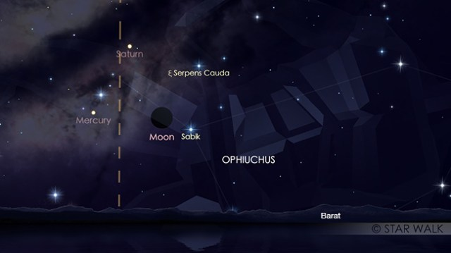 Segitiga Bulan, Merkurius dan Saturnus tanggal 20 November 2017 pukul 18:30 WIB. Kredit: Star Walk
