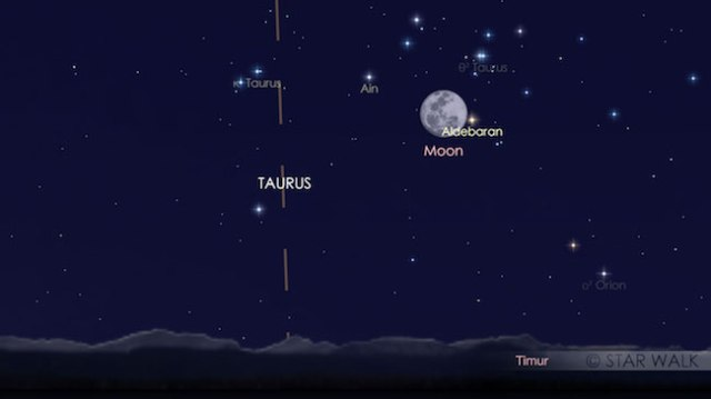 Pasangan Bulan dan Aldebaran tanggal 3 Desember 2017 pukul 18:15 WIB setelah Matahari terbenam. Kredit: Star Walk