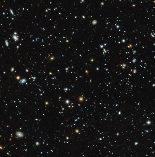 Galaksi-galaksi di HUDF yang diamati dengan MUSE pada VLT. Kredit: ESO/MUSE HUDF collaboration