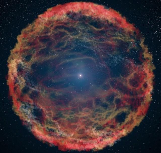 Ilustrasi supernova seandainya kita melihatnya dari dekat. Kredit: NASA, ESA, G. Bacon (STSci).