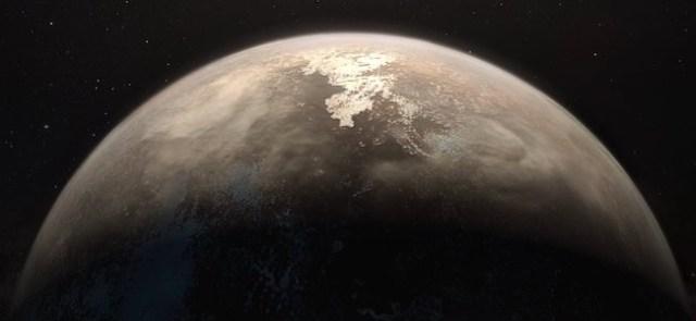 Ilustrasi artis untuk Ross 128b, exoplanet beriklim sedang di bintang Ross 128. Kredit: ESO/M. Kornmesser
