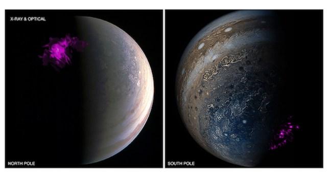 Aurora di kutub utara dan kutub selatan Jupiter. Kredit: NASA / ESA